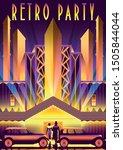 retro party invitation card.... | Shutterstock .eps vector #1505844044