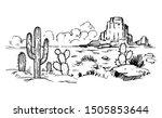 sketch of the desert of america ... | Shutterstock .eps vector #1505853644
