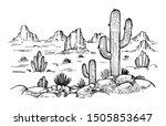 sketch of the desert of america ... | Shutterstock .eps vector #1505853647