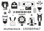 bw scandinavian animals set.... | Shutterstock .eps vector #1505859467