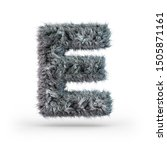 Uppercase fluffy and furry gray font. Letter E. 3D rendering