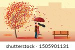 a couple in love stands in an... | Shutterstock .eps vector #1505901131
