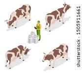 Isometric Dairy Cattle Set....