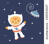 astronaut cat  in space  vector  | Shutterstock .eps vector #150592037