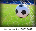 soccer football in goal net... | Shutterstock . vector #150593447