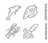 ocean animals linear icons set. ... | Shutterstock .eps vector #1505939141