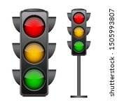 traffic lights with all three... | Shutterstock .eps vector #1505993807