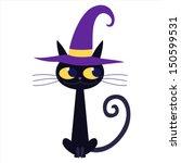 Stock vector cartoon black cat isolated vector illustration 150599531