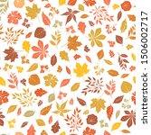 floral autumnal leaf seamless... | Shutterstock .eps vector #1506002717
