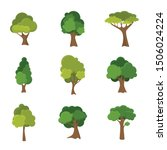 variety of hand drawn deciduous ...