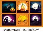 set cards with halloween scenes | Shutterstock .eps vector #1506025694