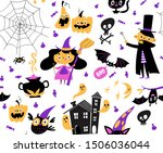 halloween seamless pattern with ... | Shutterstock .eps vector #1506036044