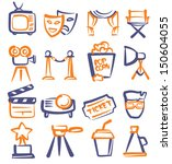 vector hand drawn film icons...