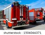 Red Fire Trucks. Firefighting...