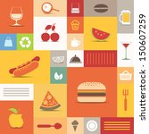 Color Tiles With Food Icons...
