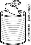 Opened Tin Can. Vector Outline...