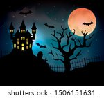 haunted castle with dry tree in ...   Shutterstock .eps vector #1506151631