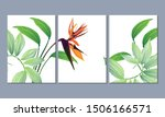 set of three wall paintings ... | Shutterstock .eps vector #1506166571