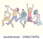 young people are jumping... | Shutterstock .eps vector #1506176951
