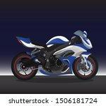 Sport Bike Motogp  Vector Blue...