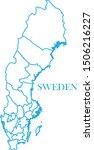 sweden map line blue color | Shutterstock .eps vector #1506216227