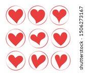 red heart shapes on white... | Shutterstock .eps vector #1506273167