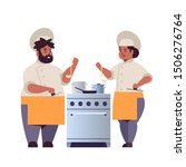 cooks couple professional chefs ... | Shutterstock .eps vector #1506276764