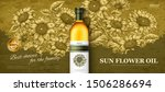 sun flower oil banner ad in 3d... | Shutterstock .eps vector #1506286694