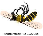 Silhouette of of dead honey bee on a white background. - stock vector