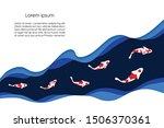 paper art style. fancy fish on... | Shutterstock .eps vector #1506370361