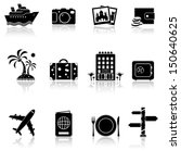 vacation and travel icon set | Shutterstock .eps vector #150640625
