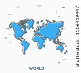 world map thin line style....   Shutterstock .eps vector #1506419447