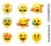set of minimal cute emoticons.... | Shutterstock .eps vector #1506488534