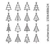 christmas tree icons. vector... | Shutterstock .eps vector #1506488624