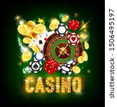 Casino poker whee of fortune roulette and jackpot game golden coins splash win. Vector dollars money, casino playing ace cards, dice and sparkling light signage on green background - stock vector