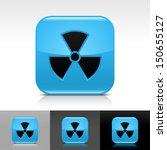 radiation icon set. blue color...