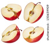 Small photo of Half of red apple. collection. With clipping path