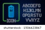 glowing neon battery charge... | Shutterstock .eps vector #1506623867