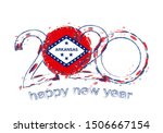 happy new 2020 year with flag... | Shutterstock .eps vector #1506667154
