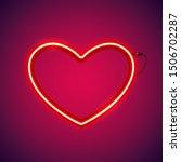red romantic neon heart makes...   Shutterstock .eps vector #1506702287