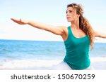 young beautiful female doing... | Shutterstock . vector #150670259