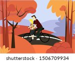 illustration of family cycling... | Shutterstock .eps vector #1506709934