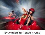 girl is driving go kart with... | Shutterstock . vector #150677261