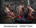 girls at a garage next to the... | Shutterstock . vector #150677264