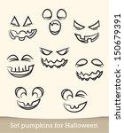 jack o lantern pumpkin faces | Shutterstock .eps vector #150679391