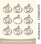 jack o lantern sketch vector... | Shutterstock .eps vector #150681005
