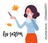 lettering flu season and... | Shutterstock .eps vector #1506860597