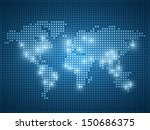World map dot illustration on blue background.