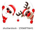 santa and reindeer sunglasses...   Shutterstock .eps vector #1506870641