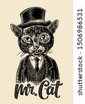 Cat Gentleman Holding A Watch...